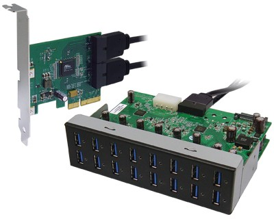 U3X4-PCIE4XE112|Quad Channel 16-port (4-port x 4) USB 3.0 to PCI Express x4 Gen 2 Host Card