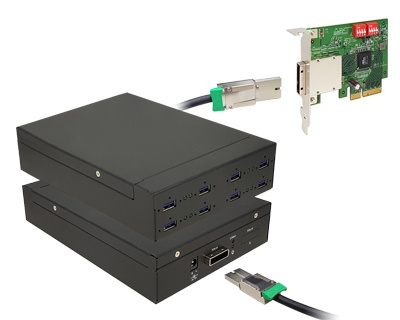 U3X4-EP4XE103E|Quad channel 8-port (2-port x 4) USB 3.0 to PCI Express x4 Gen 2 Host Docking