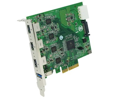 U3X4-PCIE4XE314|Quad Channel 4-port (1-port x 4) USB 3.0 to PCI Express x4 Gen 2 Host Card